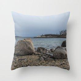A Rocky Beach In Gloucester Throw Pillow