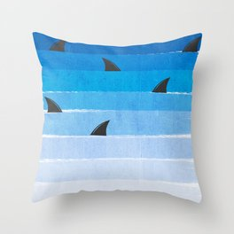 Sharks - shark week trendy black and white minimal kids pattern print ombre blue ocean surfing  Throw Pillow