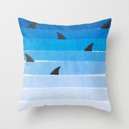 Sharks - shark week trendy black and white minimal kids pattern print ombre blue ocean surfing  Throw Pillow