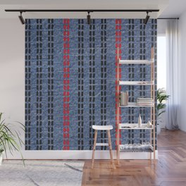 Digital Graphic Pattern Blue Denim Wall Mural