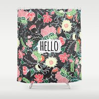 preppy Shower Curtains featuring Pastel preppy flowers Hello typography chalkboard by Girly Trend