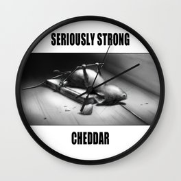 Seriously Strong Cheddar by dana alfonso Wall Clock