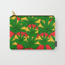Feeling Sunny Rasta Green  ganja pattern, cannabis leafs, red, green, yellow colors Carry-All Pouch