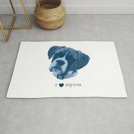 I love my dog - Boxer, blue Rug