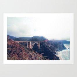 beautiful landscape at Bixby bridge, Big Sur, California, USA Art Print