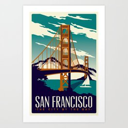 San Francisco Golden Gate Bridge Retro Vintage Art Print