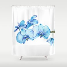 Blue Orchids Two - Watercolor Shower Curtain