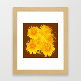 ABSTRACTED COFFEE BROWN   FIRST SPRING YELLOW DANDELIONS Framed Art Print