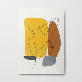 Minimal Line Art Woman Figure I Metal Print