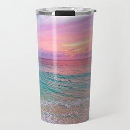 Aerial Photography Beautiful: Turquoise Sunset Relaxing, Peaceful, Coastal Seashore Travel Mug