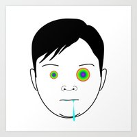 toddler Art Prints featuring Drooling Toddler by Ricardo Miranda Zuniga