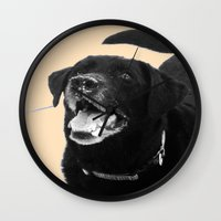 labrador Wall Clocks featuring Labrador Happy by Jennifer Warmuth Art And Design