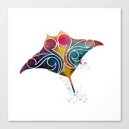 Manta Ray Color Burst Canvas Print