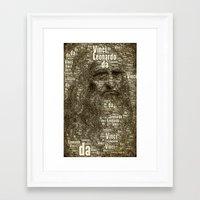 da vinci Framed Art Prints featuring Leonardo da Vinci by AnacondaOnline.eu