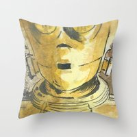 c3po Throw Pillows featuring C3PO by Johannes Vick