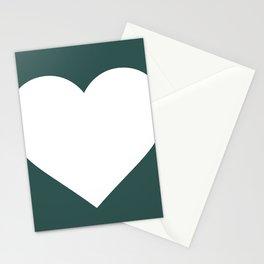 Heart (White & Dark Green) Stationery Cards