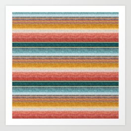 serape southwest stripe - orange & teal Art Print
