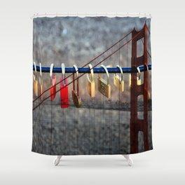LOVE LOCKED - GOLDEN GATE BRIDGE Shower Curtain