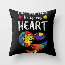 I Am His Voice Autistic Kids Autism Awareness Mom Throw Pillow