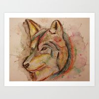 Rainbow Wolf Art Print