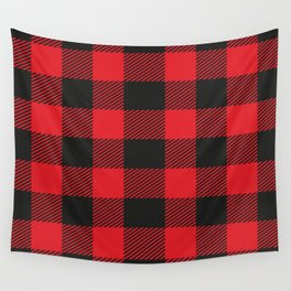 Black And Red Flannel Pattern Wall Tapestry