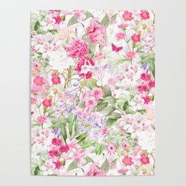 Vintage & Shabby Chic - Pastel Spring Flower Medow Poster
