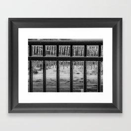 Frozen Fence Framed Art Print