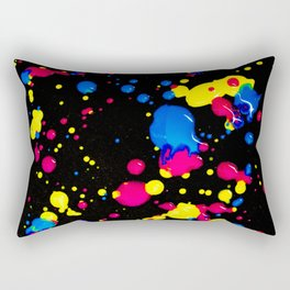 The 80s Retro Dream - Blue Pink and Yellow Paint on Canvas Rectangular Pillow