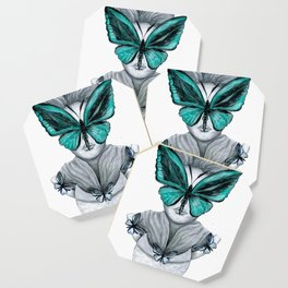 Green Butterfly Drawing Coaster