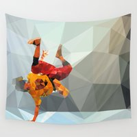 low poly Wall Tapestries featuring Dancer low poly by Angel Decuir