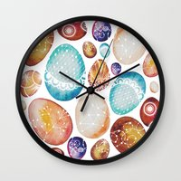 eggs Wall Clocks featuring Eggs by Sushibird