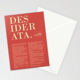 Desiderata by Max Ehrmann - Typography Print 17 Stationery Cards