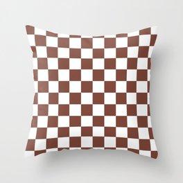 Checkered (Brown & White Pattern) Throw Pillow