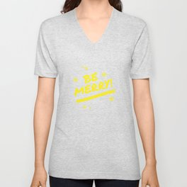 Bright Yellow Be Merry Christmas Snowflakes Unisex V-Neck
