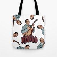 django Tote Bags featuring Django Reinhardt by Daniel Cash