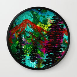 Go Wild - Mountain - Abstract painting Wall Clock