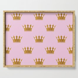 Princess Charlotte Rose Pink with Gold Crowns Serving Tray