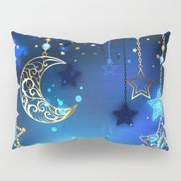 Gold Crescent on Blue Background Pillow Sham