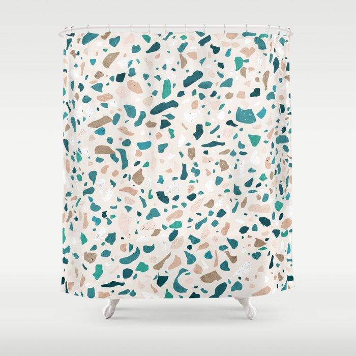 Terrazzo Turquoise Pattern Shower Curtain