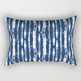 Shibori Stripes Indigo Blue Rectangular Pillow