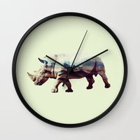 rhino Wall Clocks featuring Rhino by 83 Oranges™