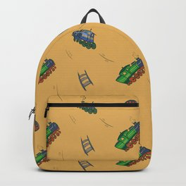 Happy Train Pattern with yellow background Backpack