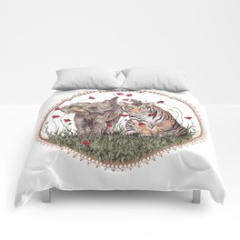 Tiger, Baby Elephant, and Mouse Playing in Poppies Comforters