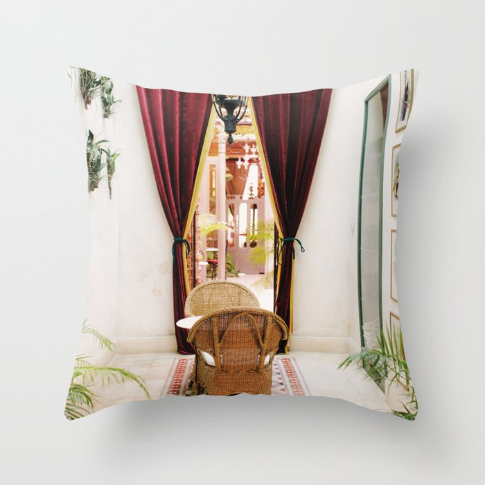 Colonial Style Tea Room in Merida, Mexico Throw Pillow by romanalilic