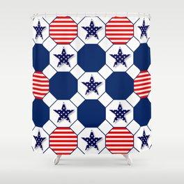 Nautical Patriotic Hexagons Shower Curtain