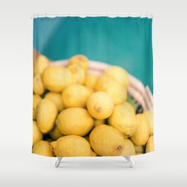 Yellow lemons next to a turquoise pool. | Colorful food photography, tropical feel. Shower Curtain