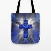 cross Tote Bags featuring Cross by Mr D's Abstract Adventures