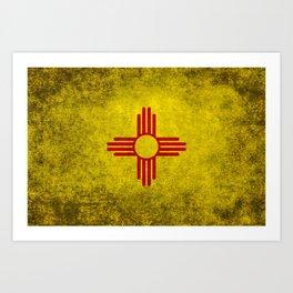 Flag of New Mexico - vintage retro style Art Print