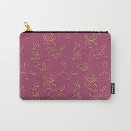 Golden Retriever Pattern (Berry Background) Carry-All Pouch