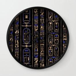 Egyptian hieroglyphs pattern Gold Lapis Lazuli #2 Wall Clock